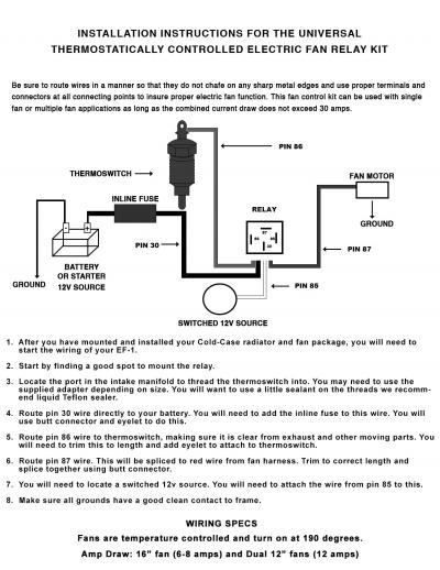 electric fan relay wiring kit cold case radiators  view the full image   title:
